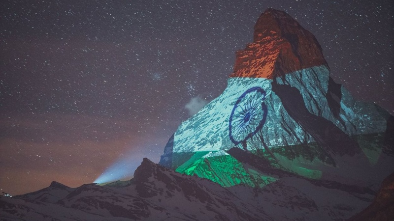 Indian flag projected on the Swiss Alps to show hope and solidarity