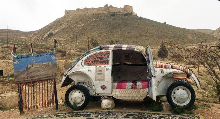 World's Smallest Hotel - Volkswagen Beetle in Jordan Desert