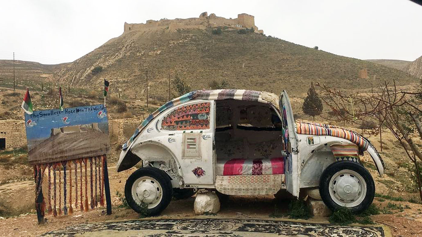 World's Smallest Hotel - Volkswagen Beetle in Jordan Desert